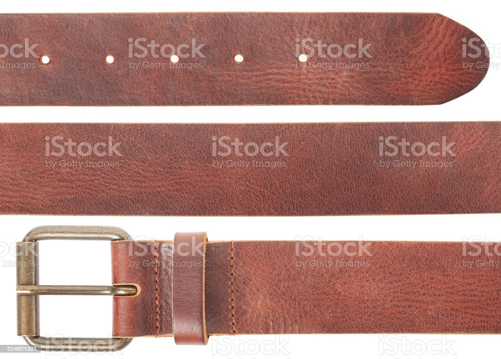 Brown leather belt set stock photo