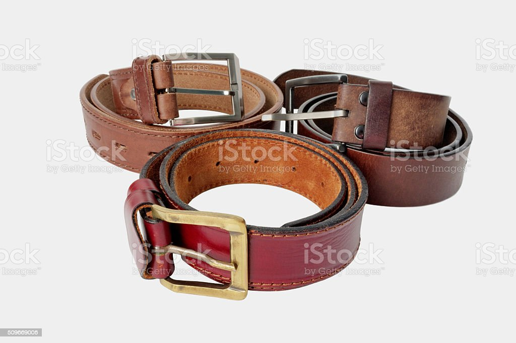 Brown leather belts stock photo