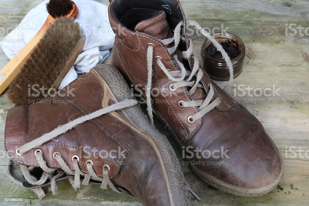Brown Leather Boots stock photo