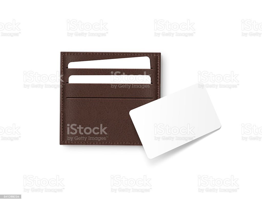 Brown leather cards holder with blank white card mock up stock photo