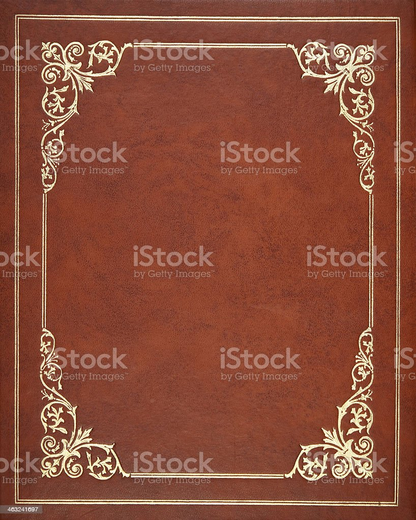 Brown leather cover stock photo