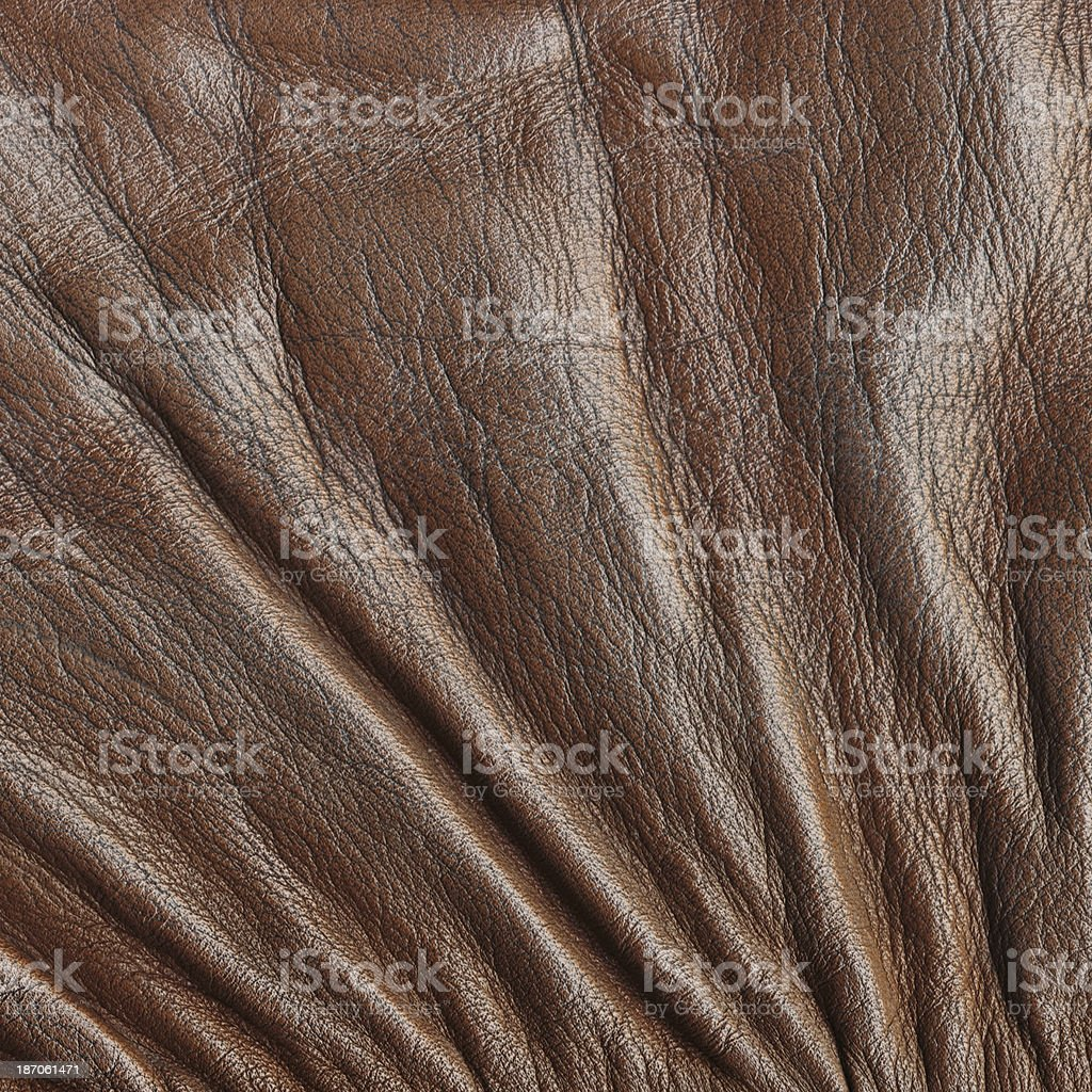 Brown Leather Crumpled Grunge Texture royalty-free stock photo