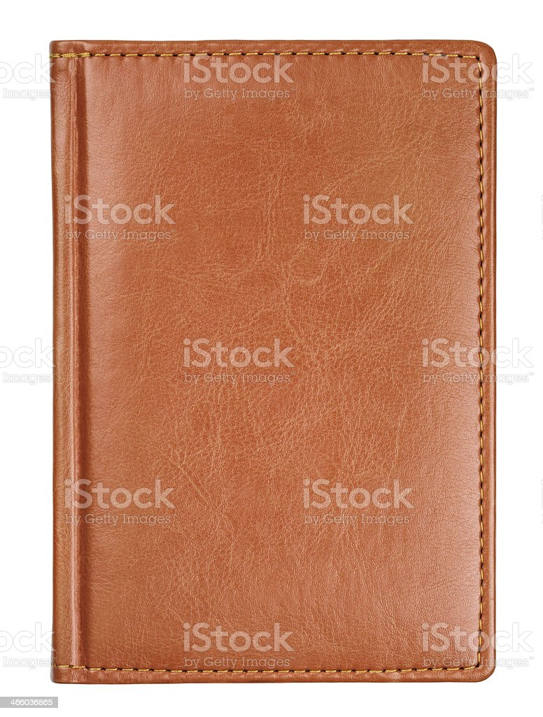 Brown leather diary book cover stock photo