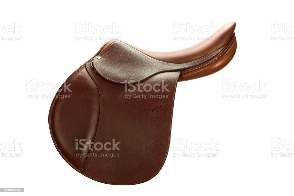 Brown Leather English Show Jumping Saddle-Side View stock photo