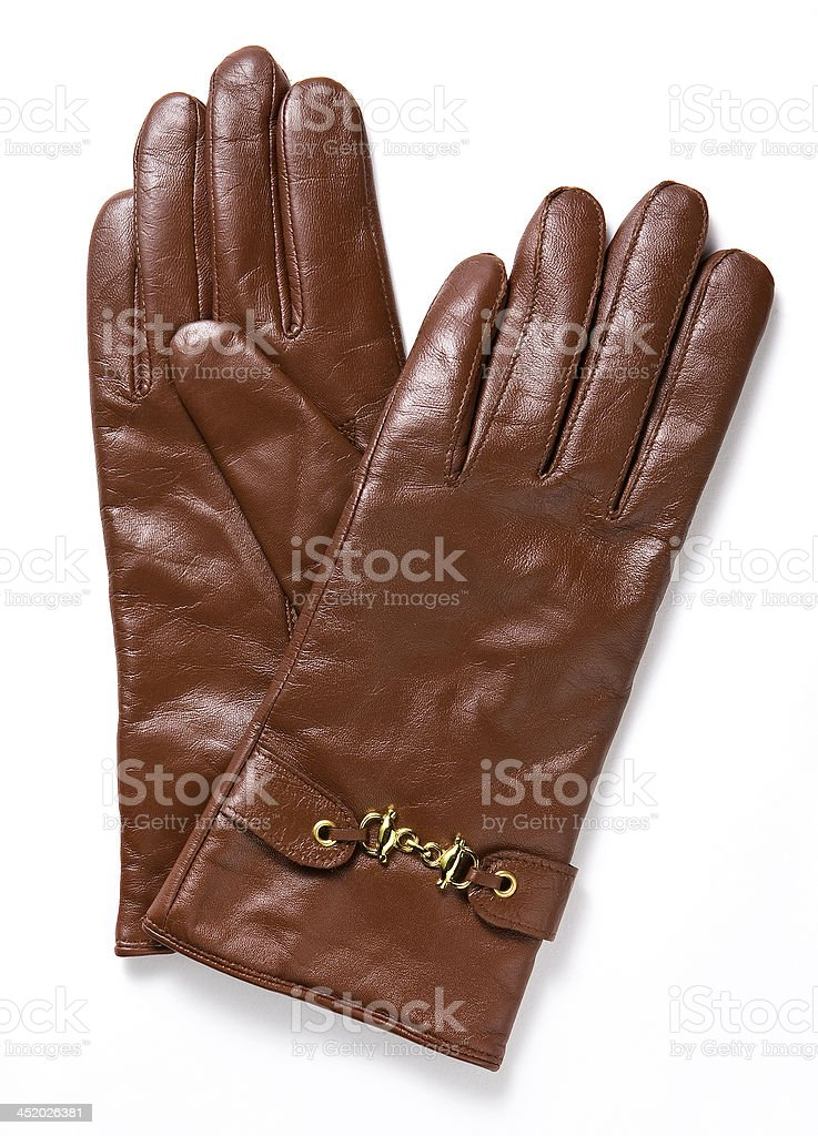brown leather gloves royalty-free stock photo