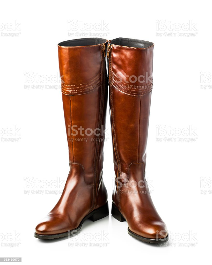 brown leather high boots stock photo