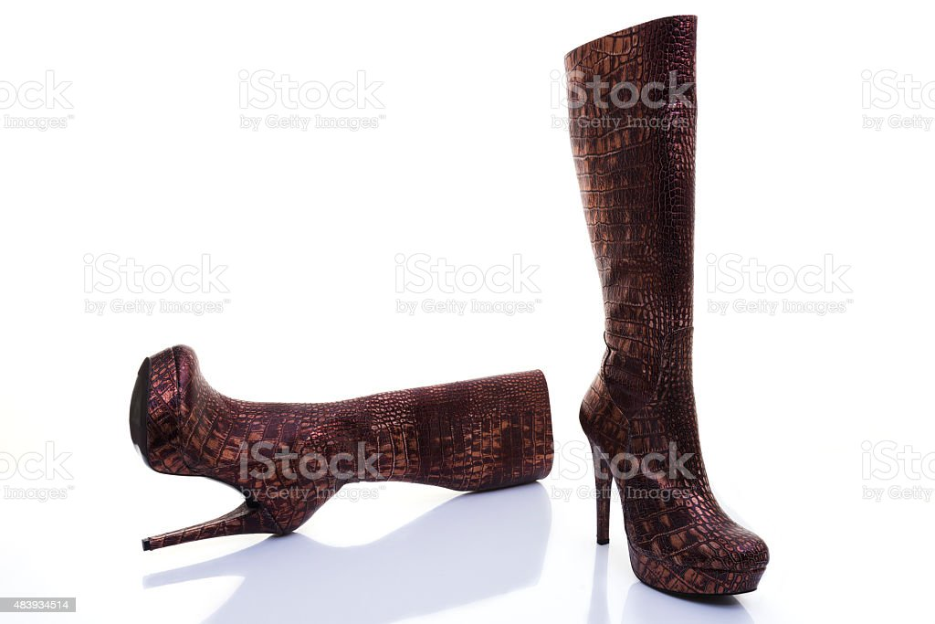 Brown leather high heel boots stock photo