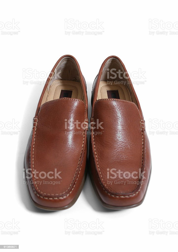 Brown Leather Loafers (New) on White Background royalty-free stock photo