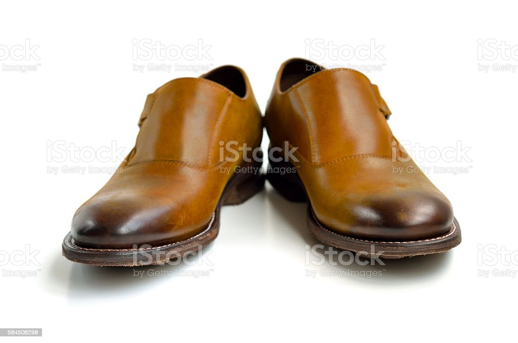 Brown leather man shoes stock photo