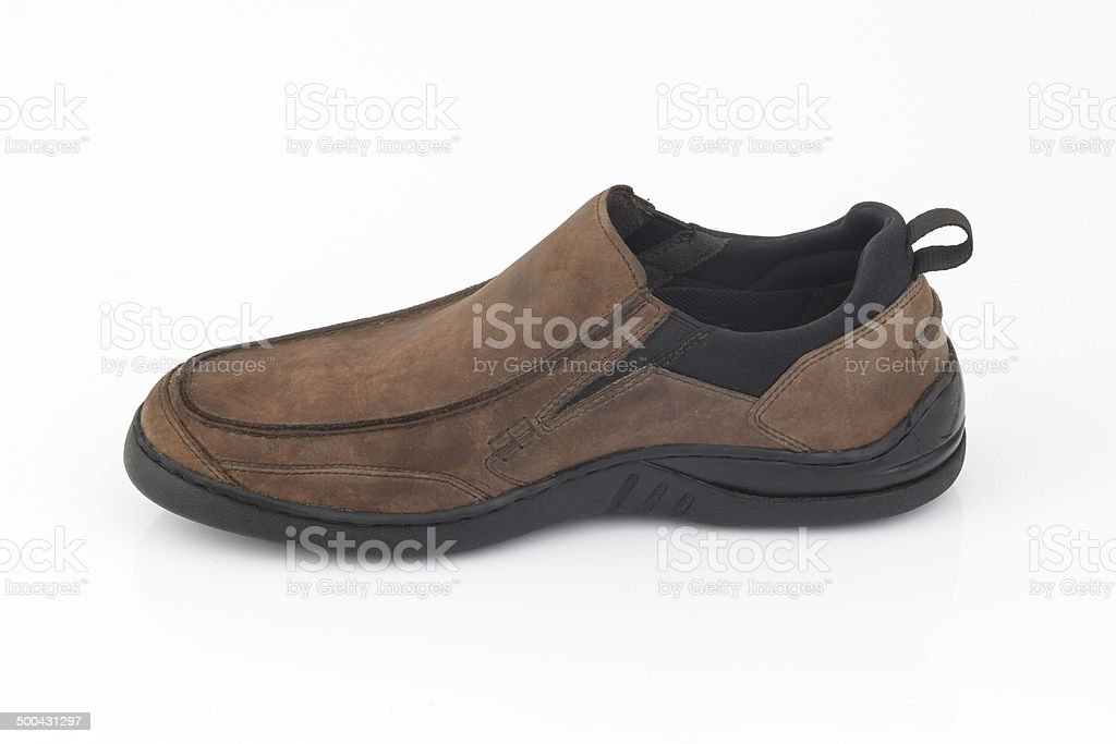 Brown leather men shoes isolated on white background royalty-free stock photo