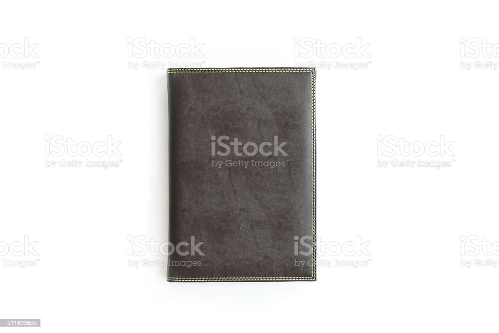 brown leather notebook isolated stock photo
