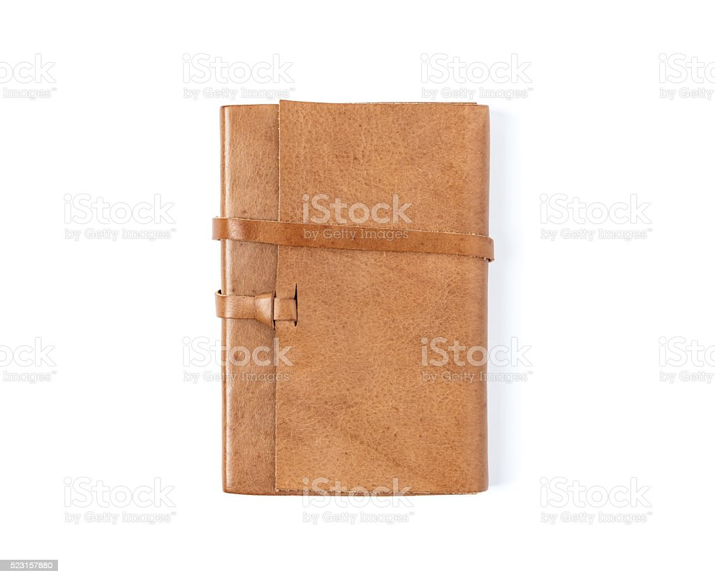 Brown Leather notebooks isolated on white background stock photo