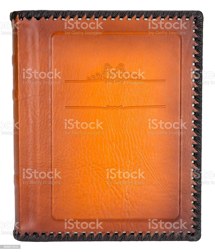 Braune Lederfotoalbumcover Mit Rahmen Für Text Dekorativen Stockfoto ...