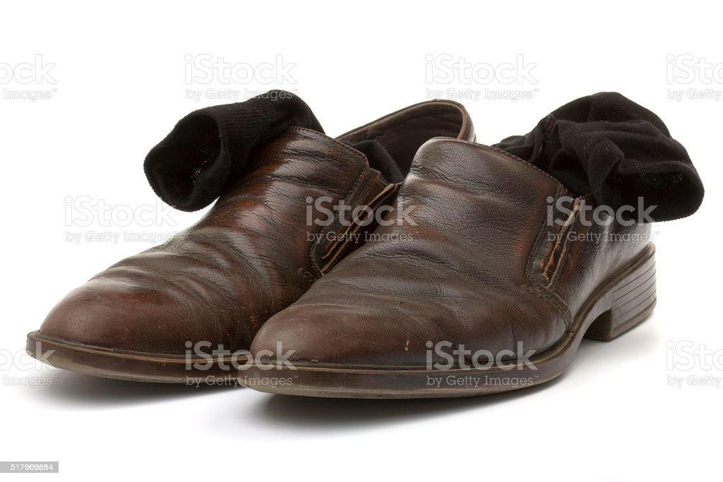 Brown leather shoes and black socks stock photo