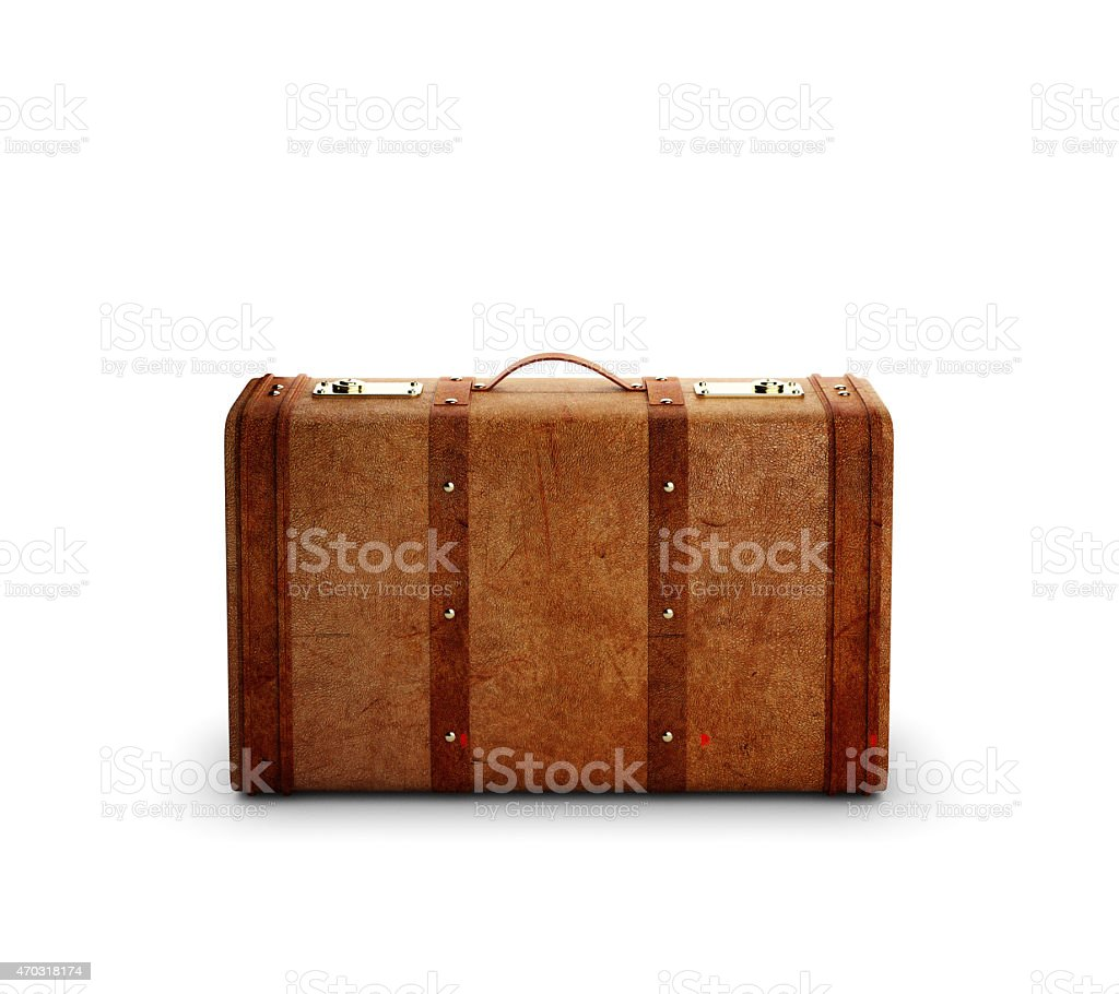 brown leather suitcase stock photo