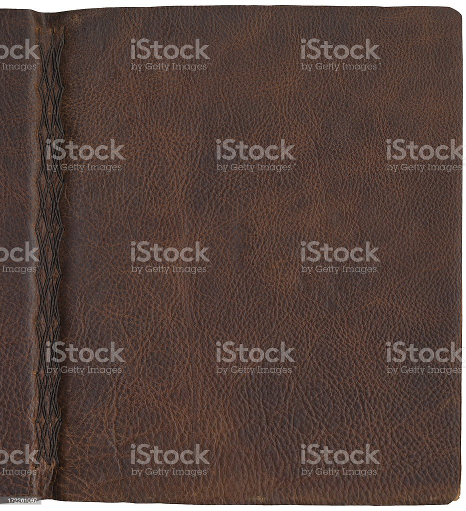 Brown Leather Texture Journal Cover with Spine stock photo