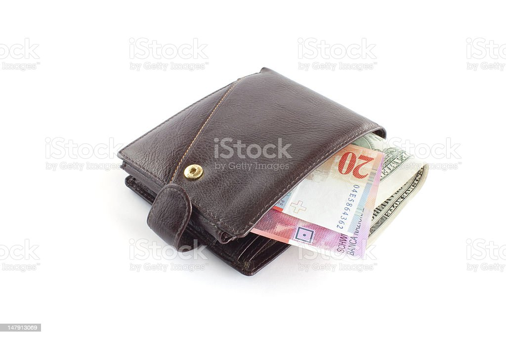 Brown leather wallet with money royalty-free stock photo