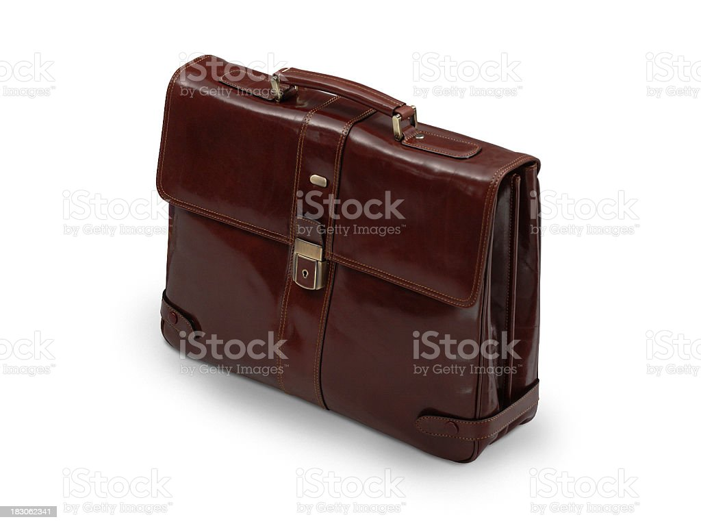 Brown leather workbag for men, white background stock photo