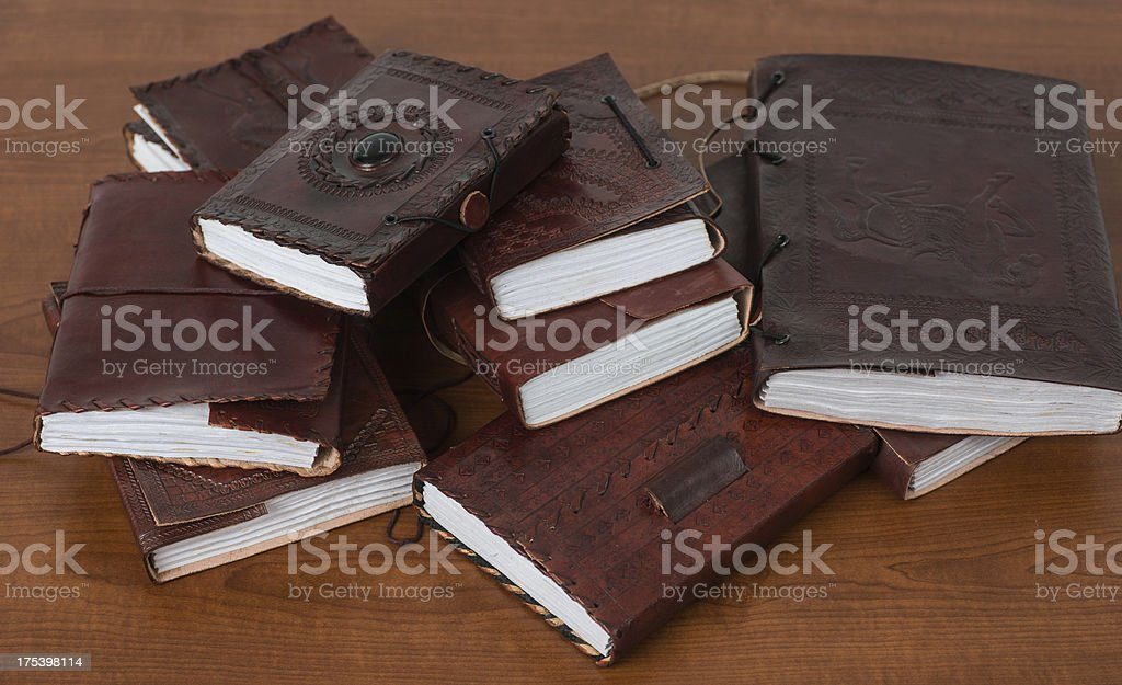 brown leatherbooks diary and notebooks from indiary royalty-free stock photo
