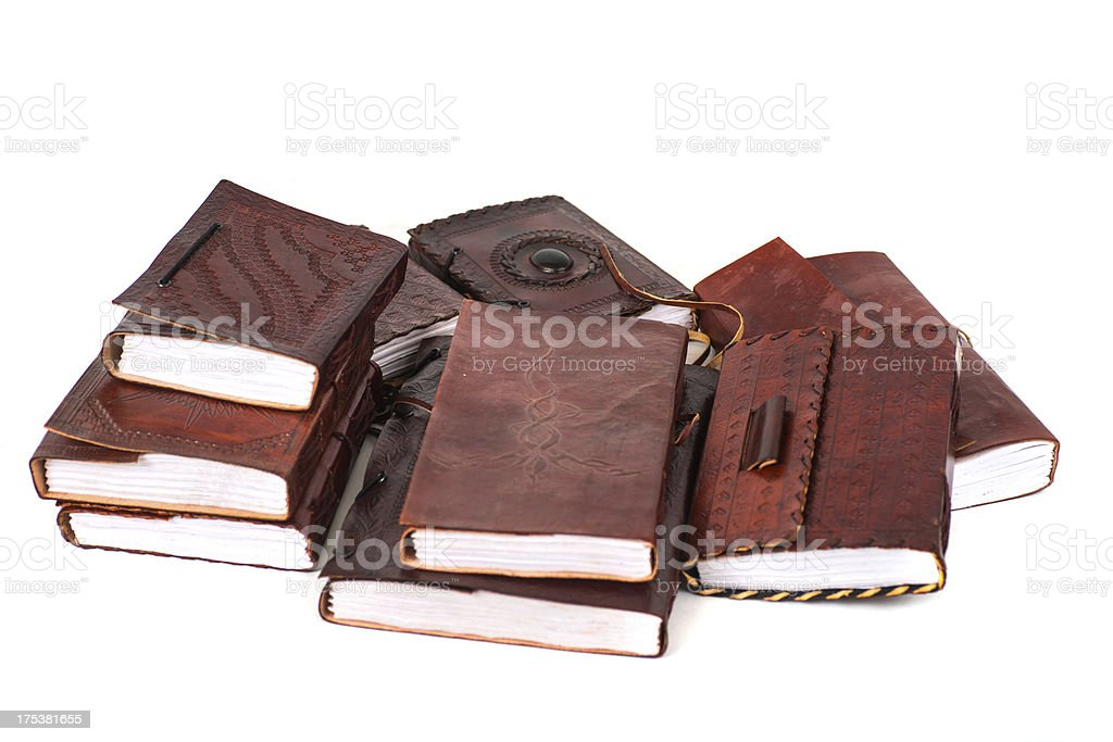 brown leatherbooks diary and notebooks from indiary - Tagebücher isolated royalty-free stock photo