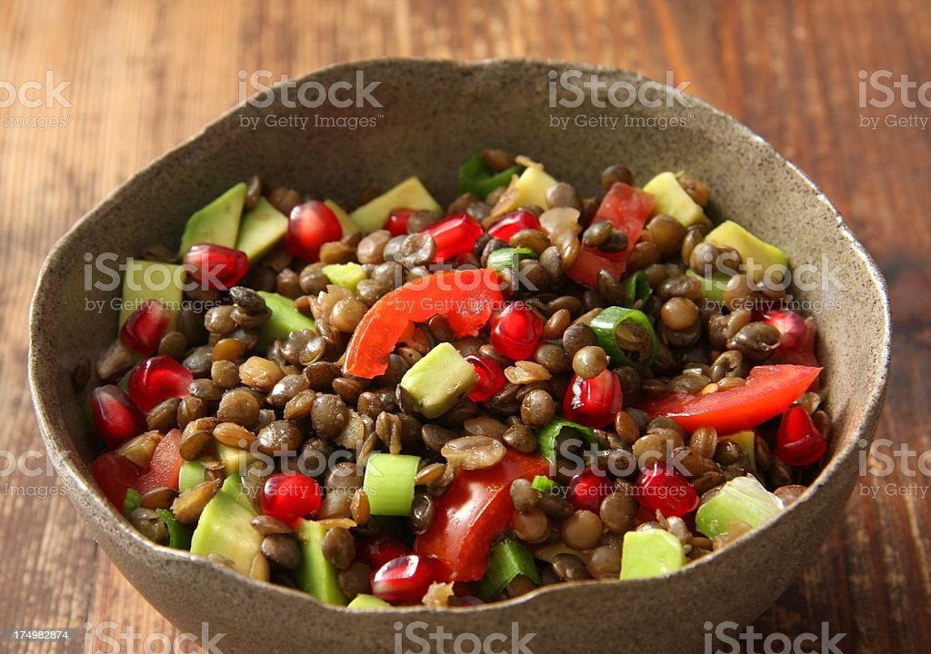 Brown lentil salad royalty-free stock photo