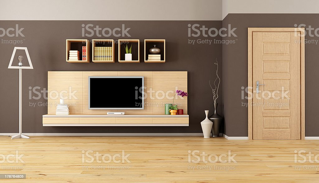 Brown living room with led TV stock photo
