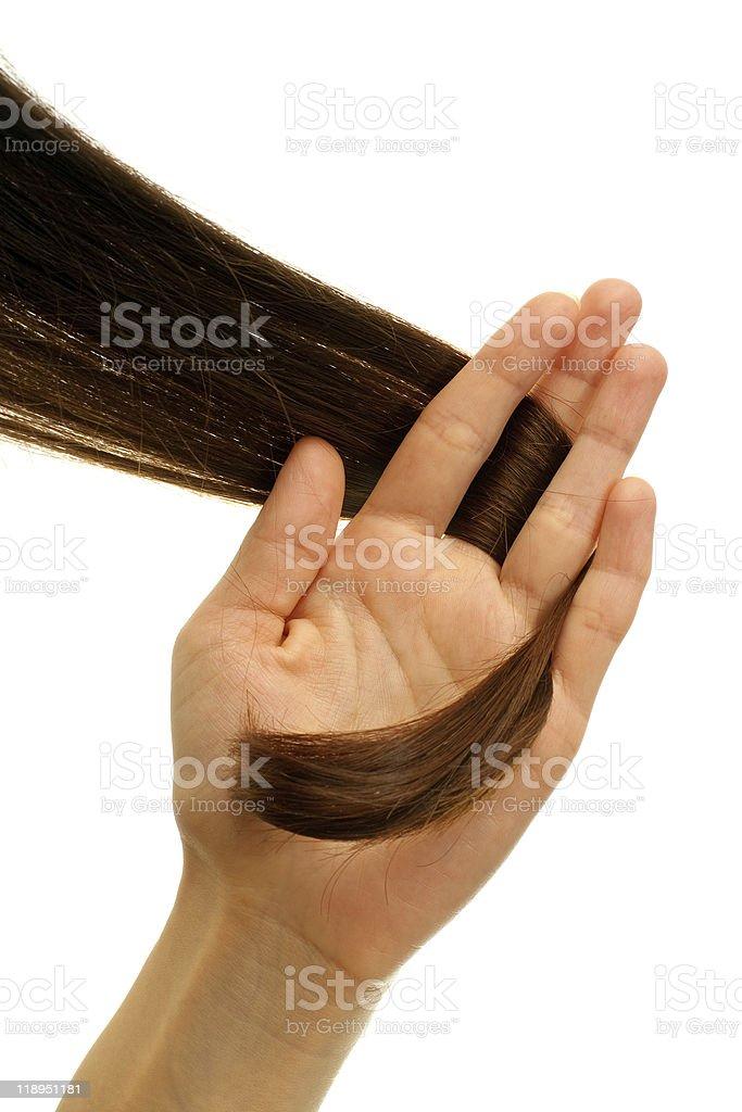 Brown lock of hair stock photo