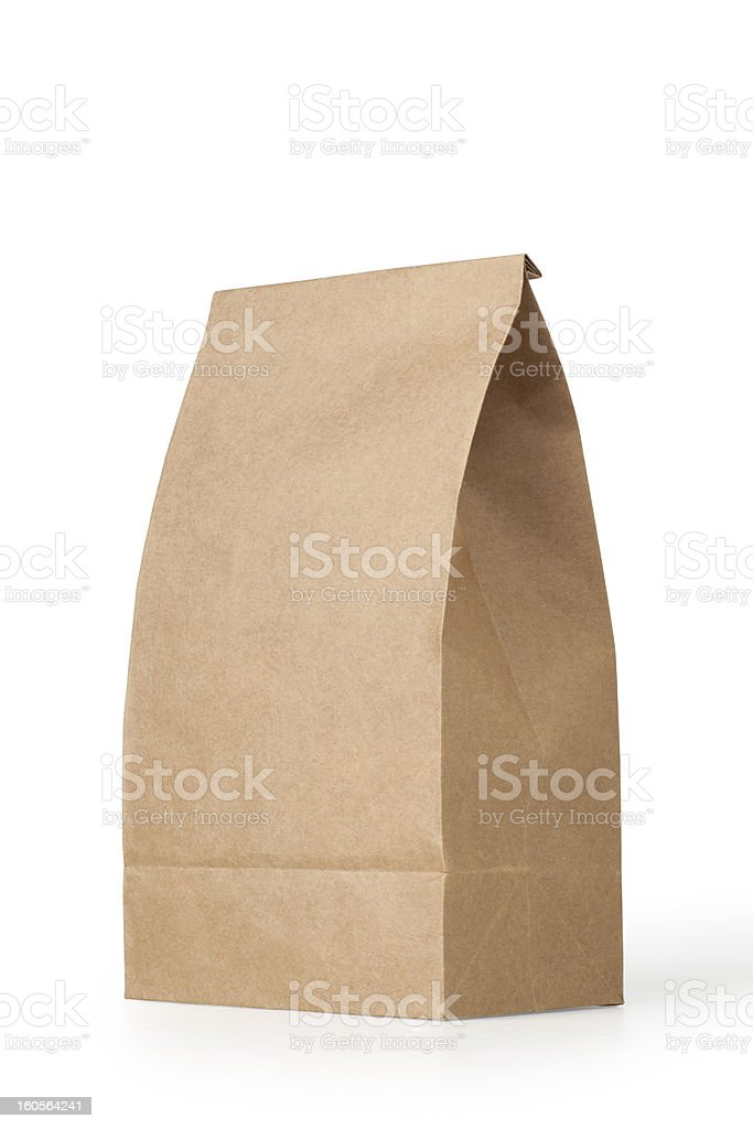 brown lunch bag stock photo