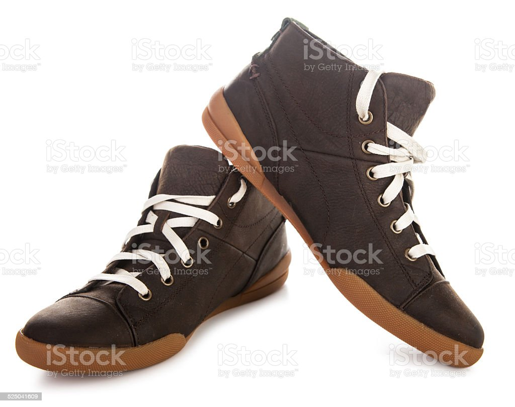 Brown male shoes stock photo