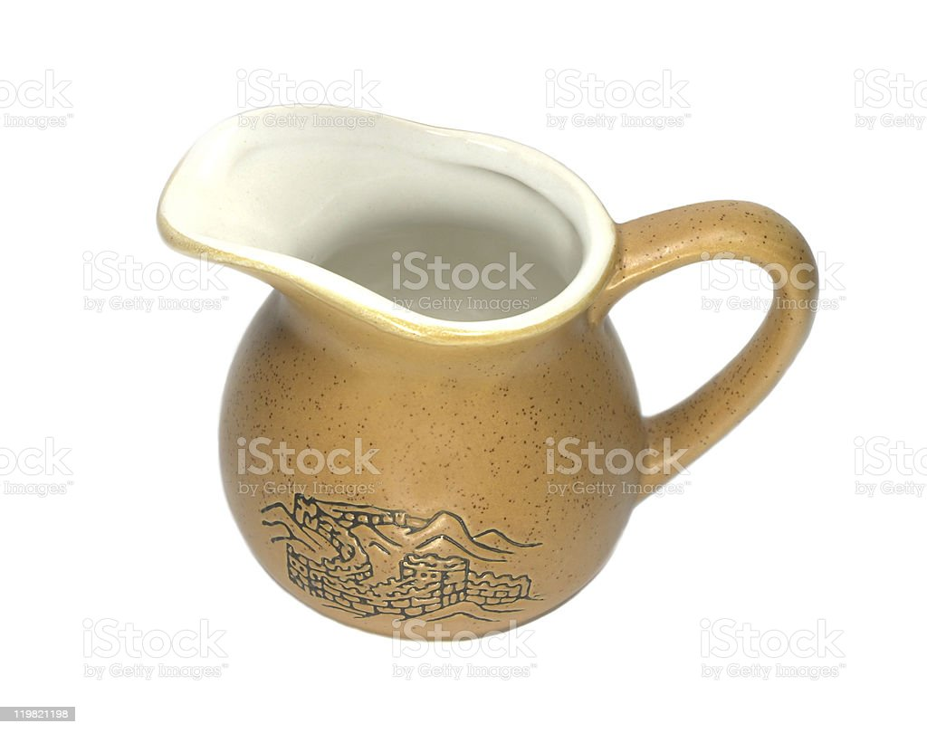 Brown milk jug can with picture isolated on white royalty-free stock photo