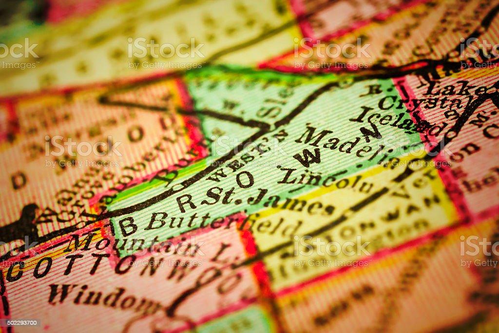 Brown | Minnesota County maps stock photo