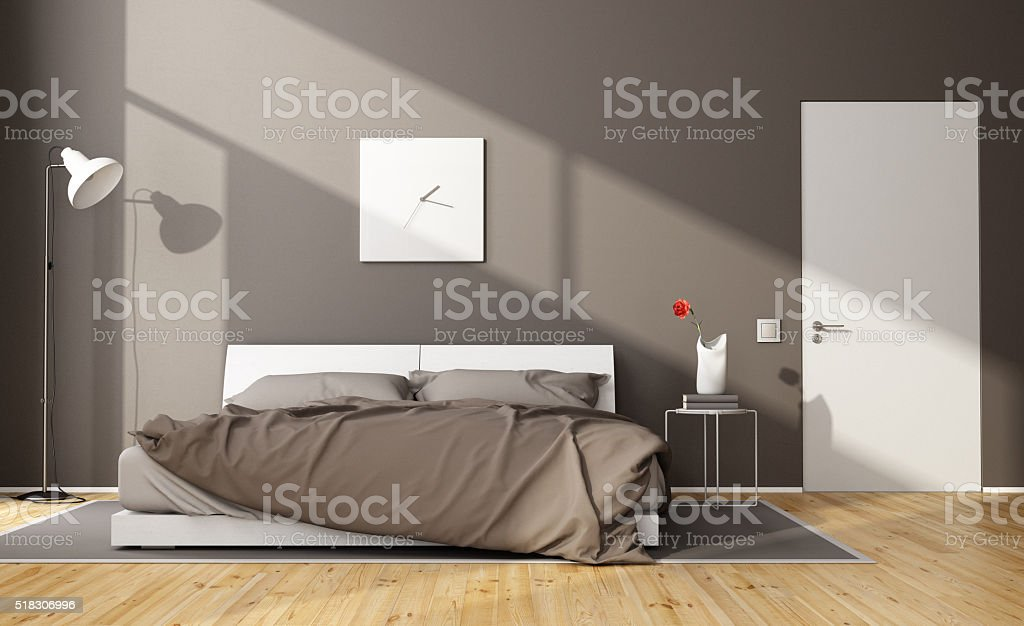 Brown modern bedroom stock photo