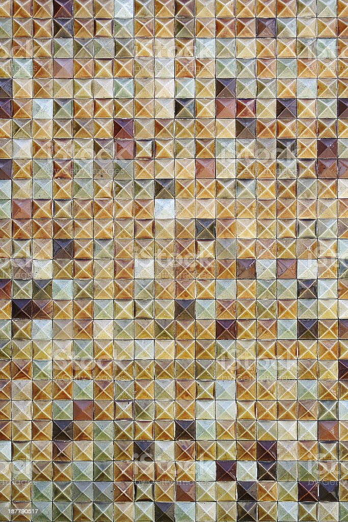 Brown mosaic tiles background texture royalty-free stock photo