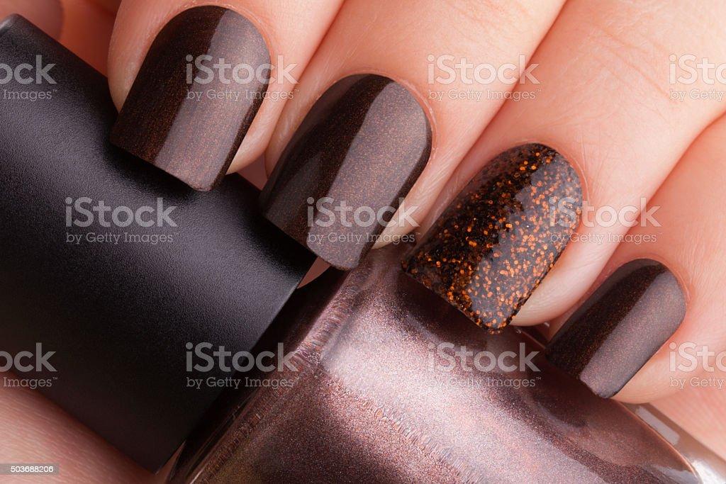 Brown nails . stock photo