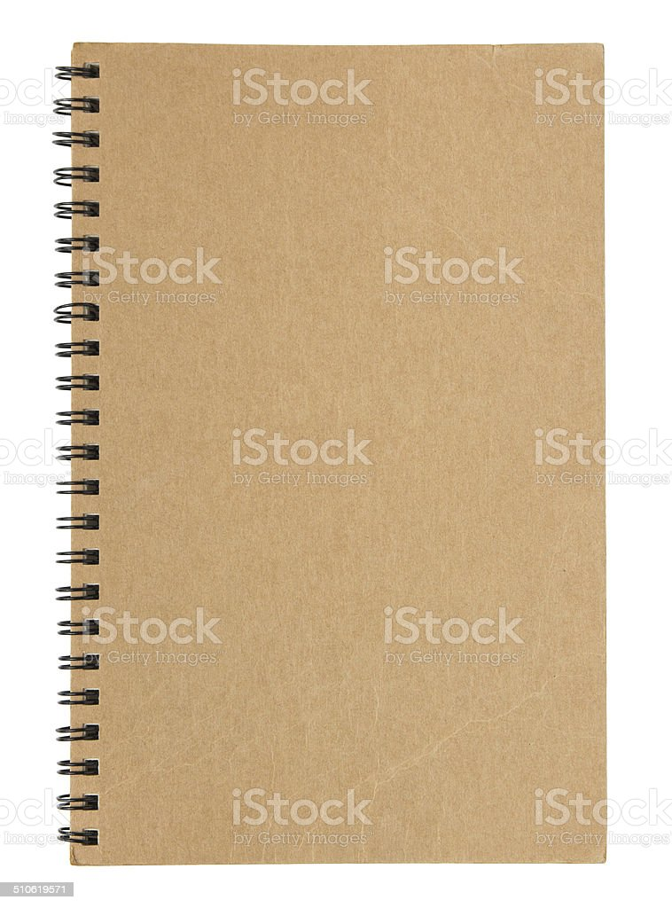 brown notebook cover isolated on white stock photo