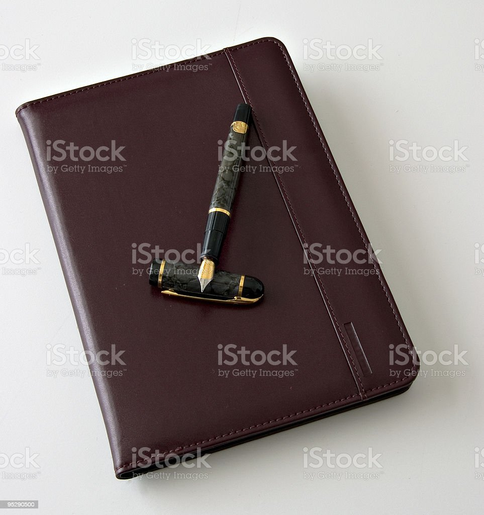 Brown (Cordovan) Noteboook With Fountain Pen stock photo