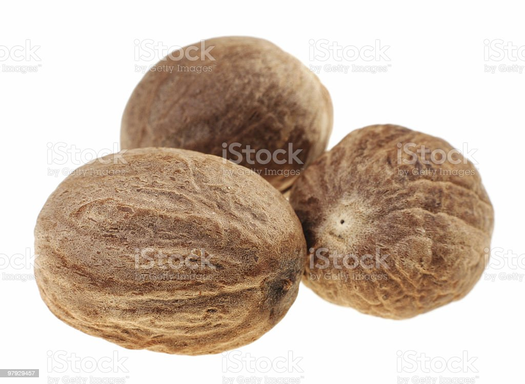 Brown nutmeg stock photo