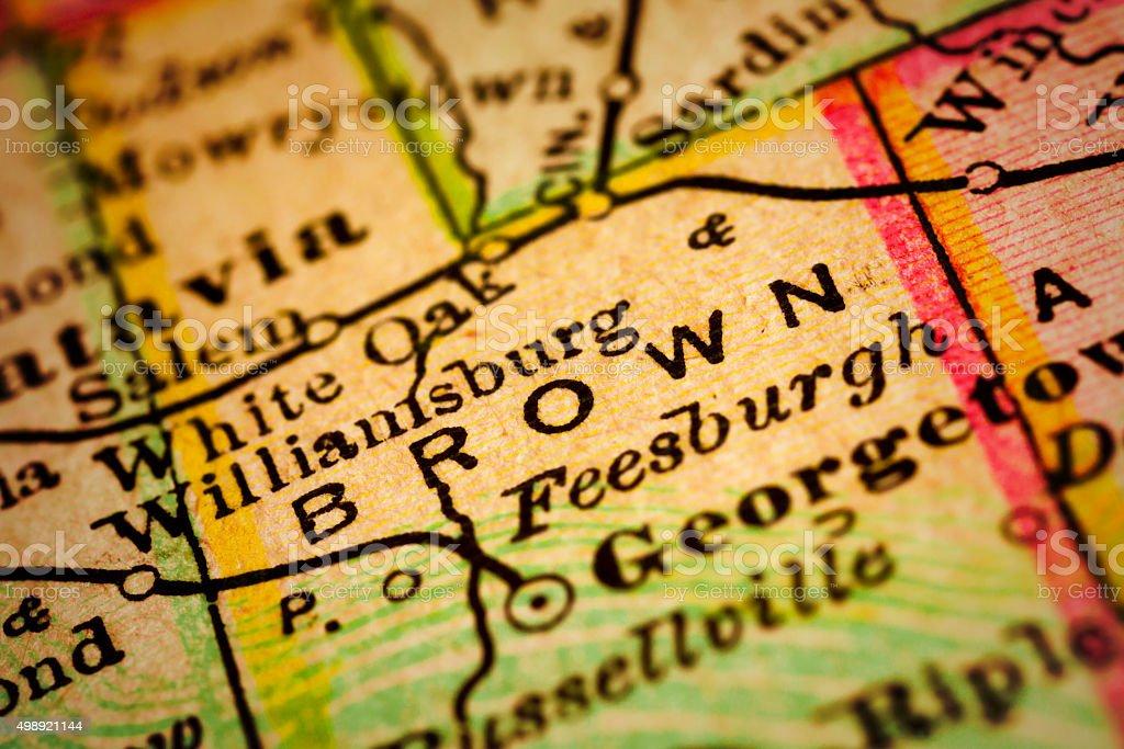 Brown | Ohio County Maps stock photo