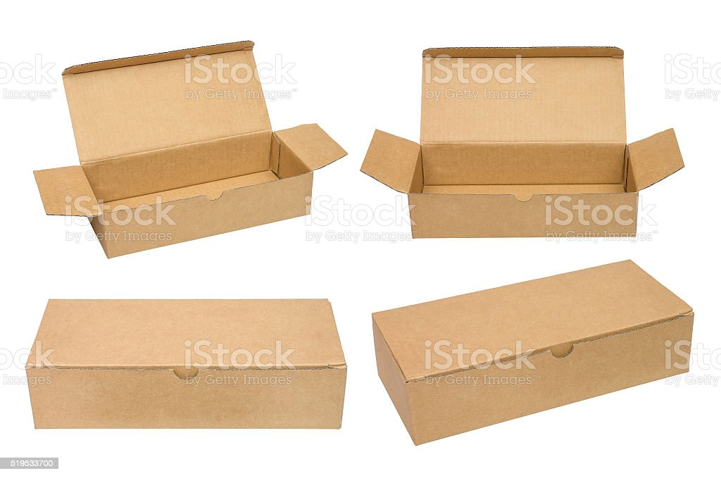 Brown packing cardboard boxes. stock photo