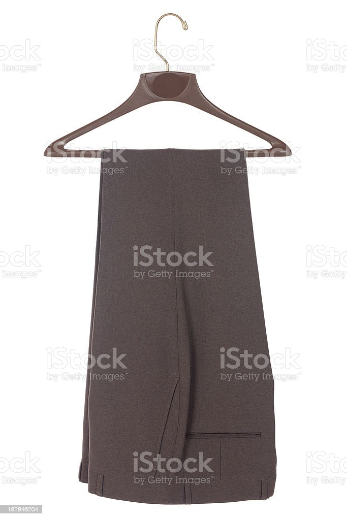 Brown Pants Hanging on Rack royalty-free stock photo