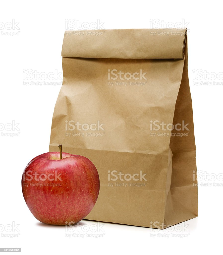 Brown Paper Bag and apple stock photo