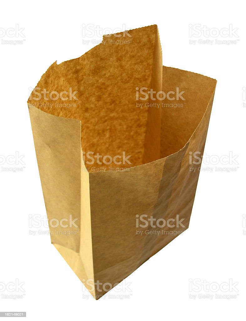 Brown Paper Bag Isolated on a White Background royalty-free stock photo