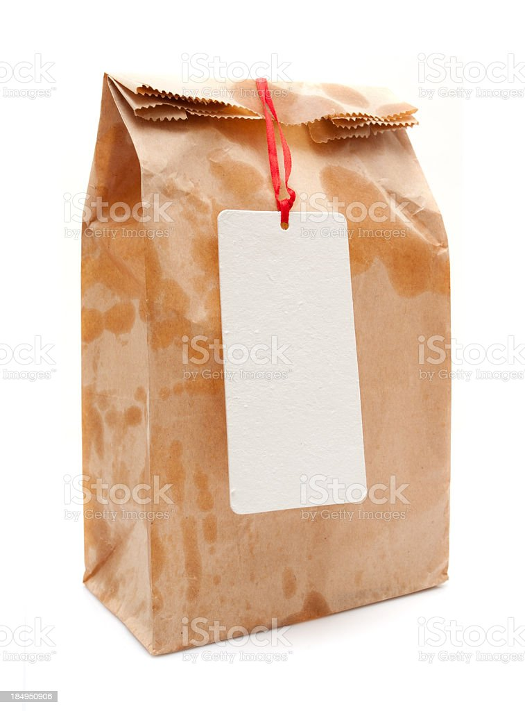Brown Paper Bag isolated on white background royalty-free stock photo