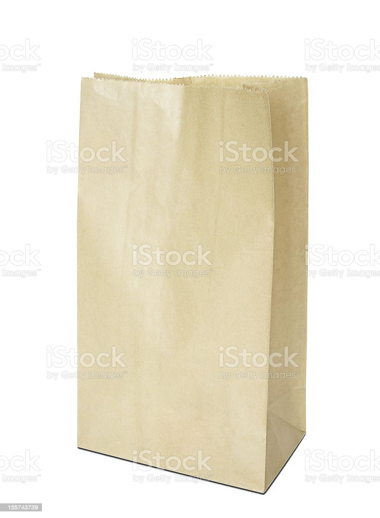 Brown paper bag isolated on white royalty-free stock photo
