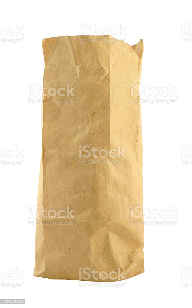 brown paper bag on pure white background royalty-free stock photo