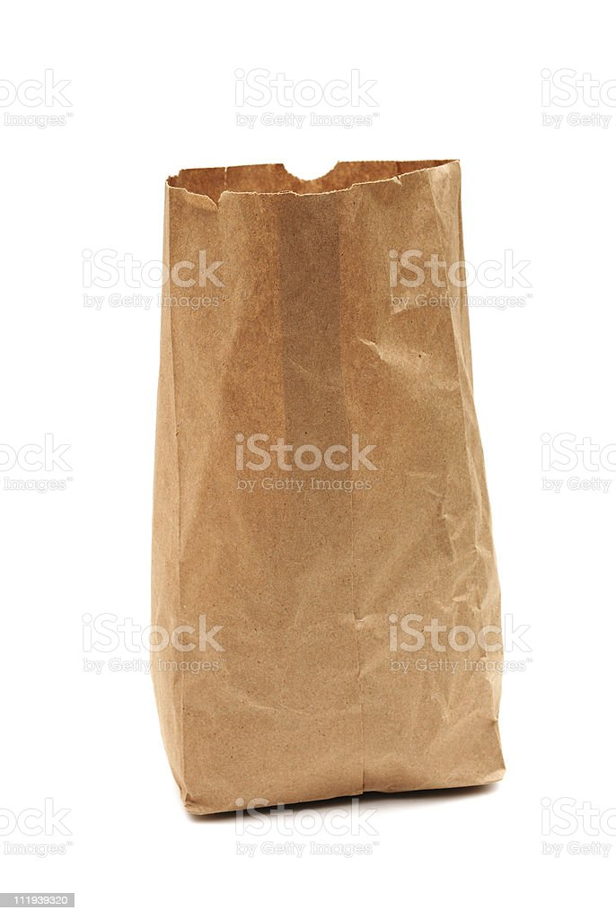 Brown paper bag on white royalty-free stock photo