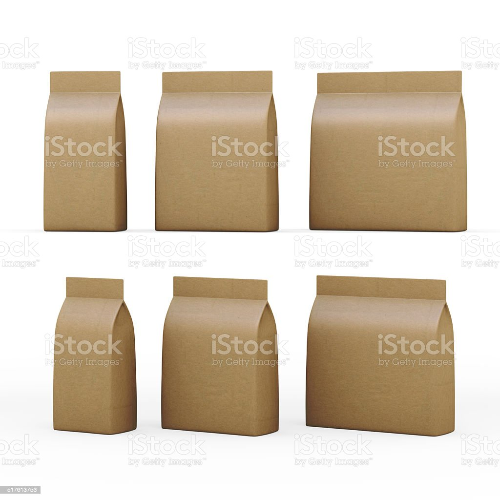 Brown paper bag packaging for general products with clipping path stock photo