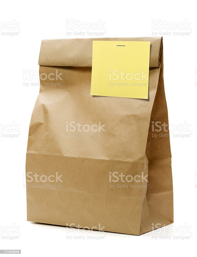 Brown Paper Bag with Blank note. stock photo