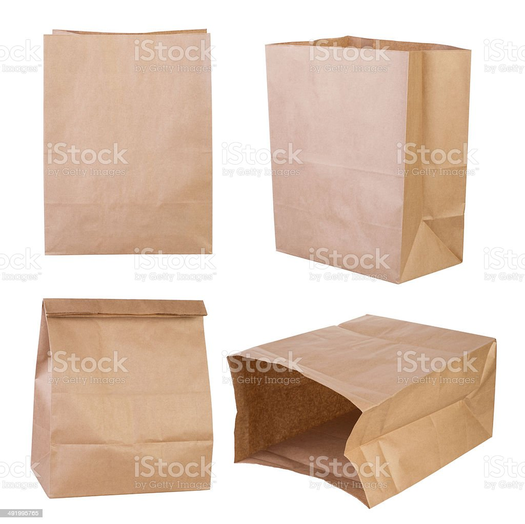 Brown paper bags stock photo