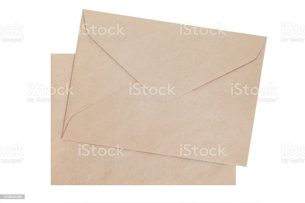 Brown paper envelope isolated on white background stock photo